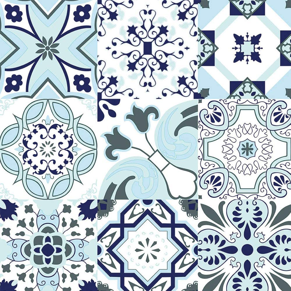 Glossy Blue White Wallpaper Thick Mosaic Backsplash Tile Contact Paper Blue Floral Waterproof Wallpaper Blue Self-Adhesive Removable Wallpaper Peel and Stick Film Decoration Vinyl Roll 17.7x118 Inch