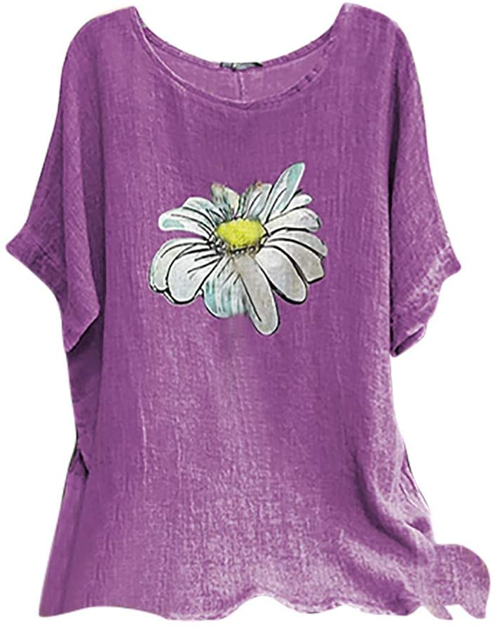 Women Tops and Blouses, Woman Vintage Cotton-Blend O-Neck Short Sleeve Floral Print Top T-Shirts Blouse, Tops for Women