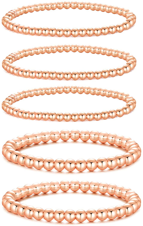 Rose Gold Beaded Bracelets for Women,Stretchable Elastic Rose Gold Plated Beads Ball Bracelet