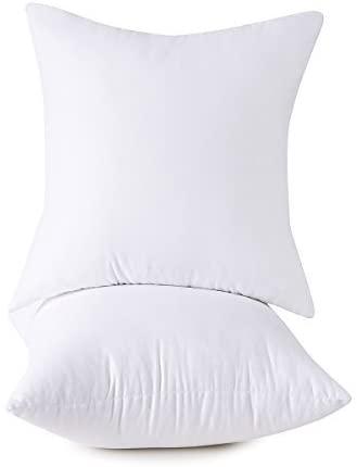 HOMESJUN Set of 2, 100% Cotton Down Alternative Decorative Throw Pillow Insert, Square, 26x26 Inch
