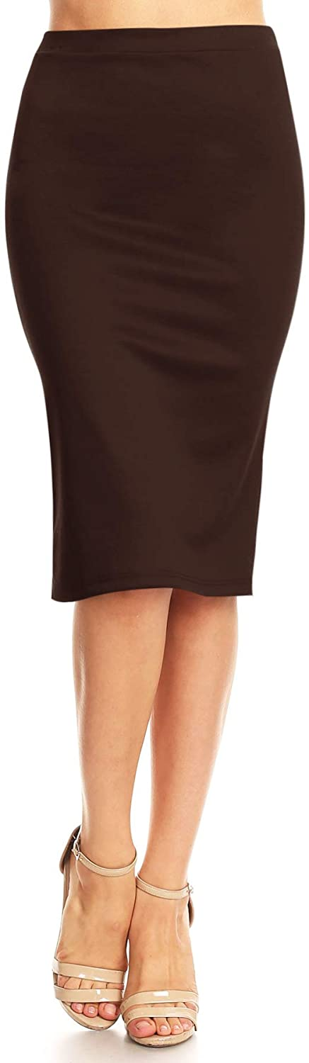 Women's Solid High Waist Band Bodycon Office Work Midi Stretchy Pencil Skirt/Made in USA