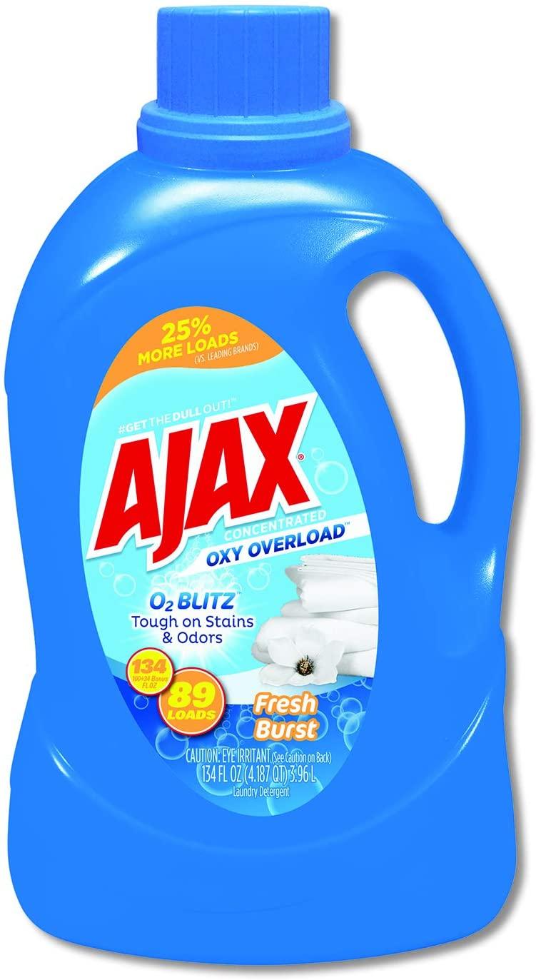 Ajax Oxy Overload Laundry Detergent, Fresh Burst Scent, 134 oz Bottle, 4/Carton