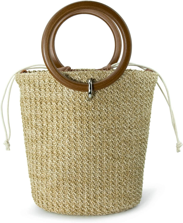 Straw Bucket Ring Handle Handbag Clutch Drawstring Cross Body Bag