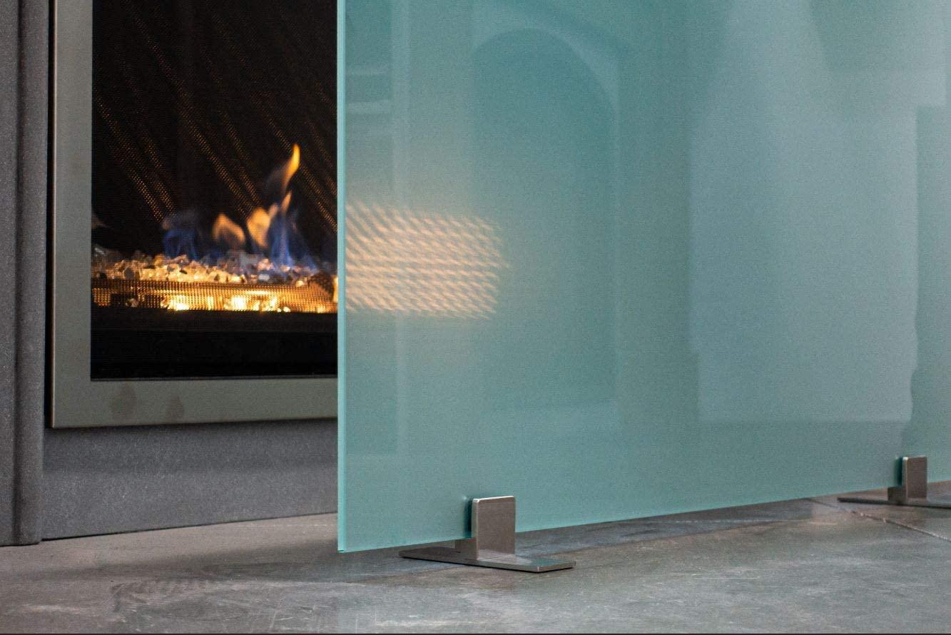 Queens Modern Free Standing Glass Fireplace Screen (Acid Etch, Black Feet) Small (36