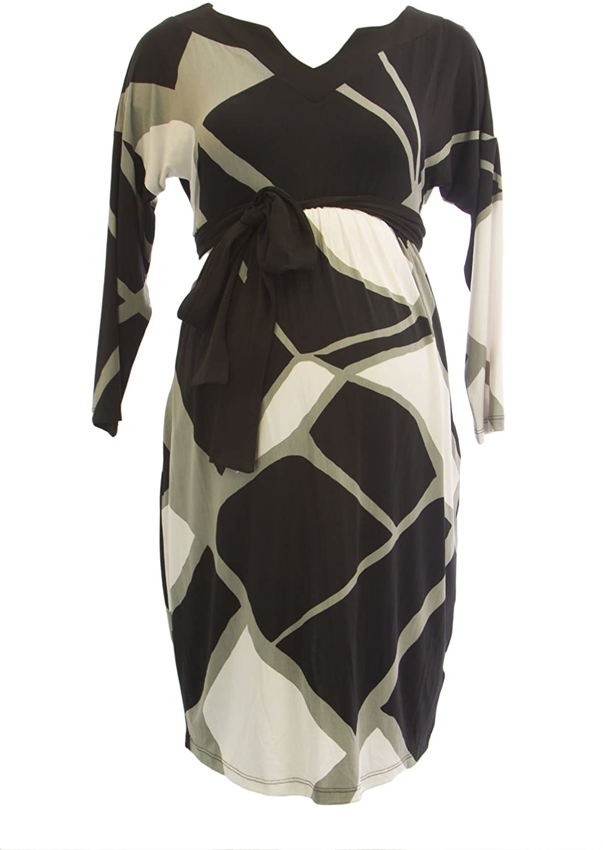 Olian Maternity Womens Grey Abstract Print Side Pockets Dolman Sleeve Dress