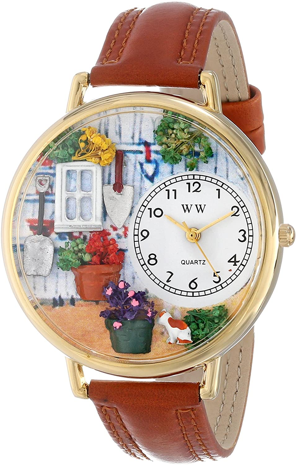 Whimsical Watches Women's G1210008 Gardening Tan Leather Watch