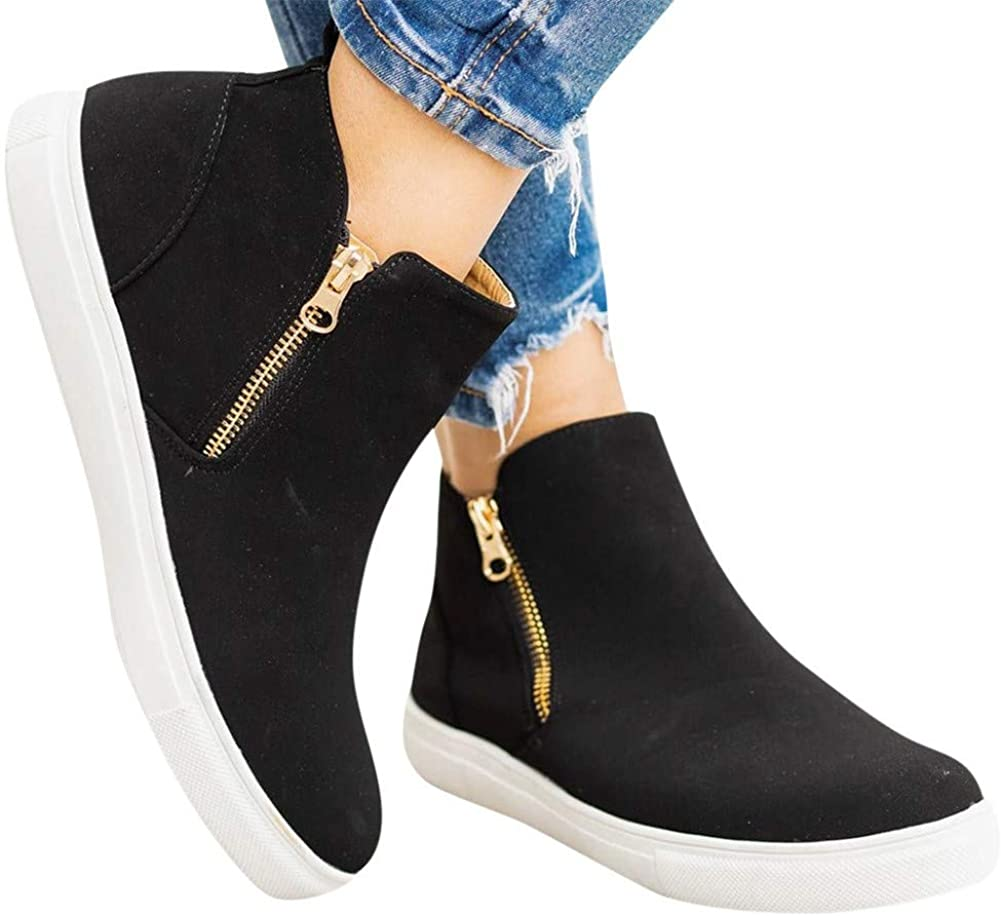 Boots for Women,High Top Platform Wedge Sneakers for Women Ankle Booties Slip On Fashion Sneaker Zipper Casual Shoes