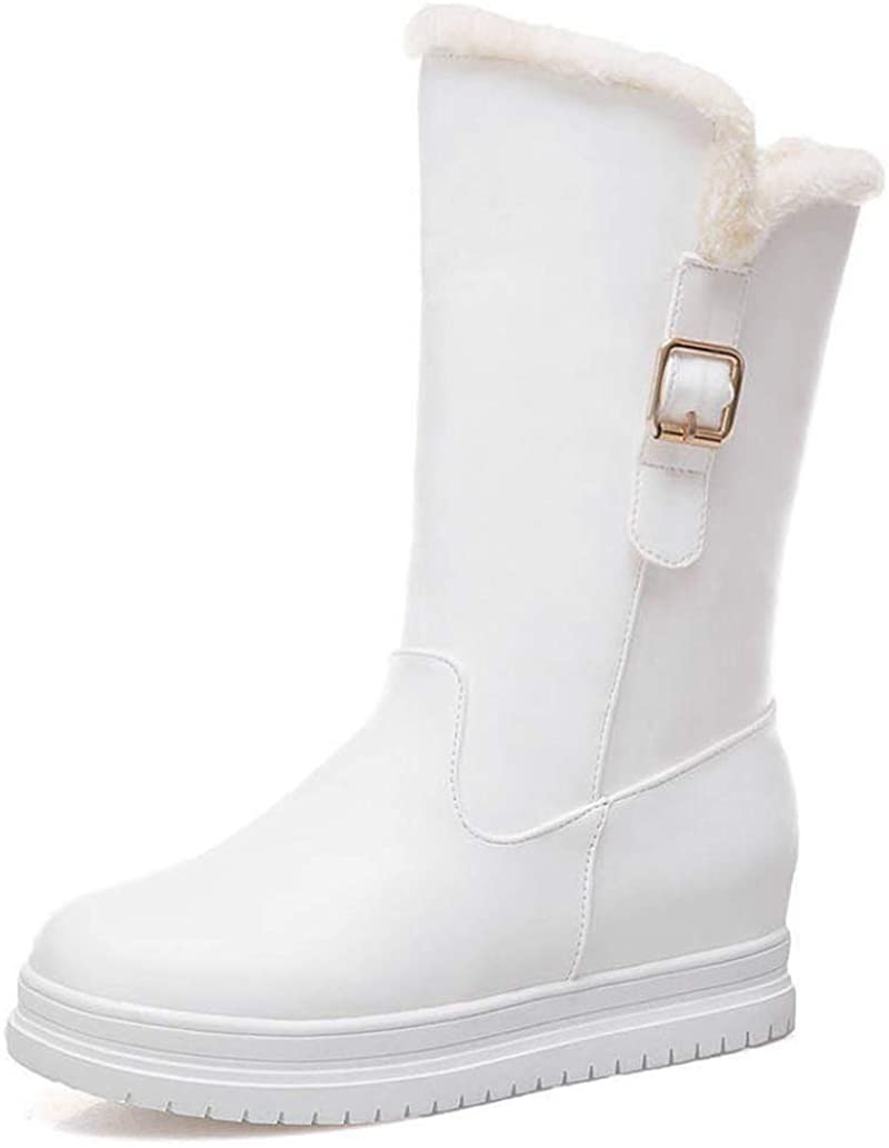 JOYBI Women Winter Mid Calf Boots Buckle PU Leather Non-Slip Waterproof Platform Hidden Wedge Snow Boot