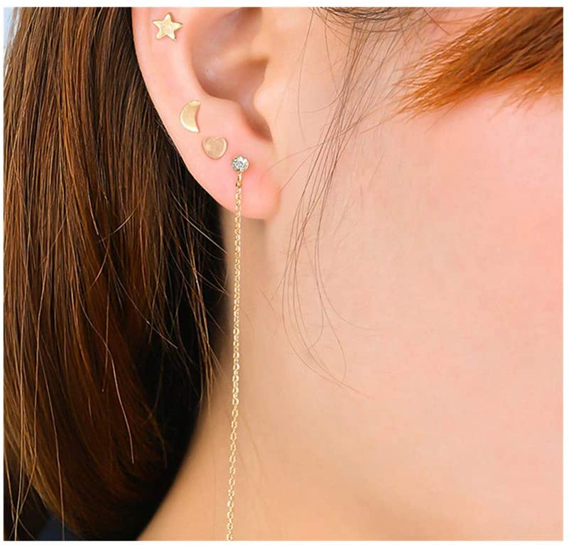 LJSLYJ 4 pcs Stud Tiny Earrings Moon Heart Star Cute Earring Set Cartilage Helix Earrings for Women,Golden