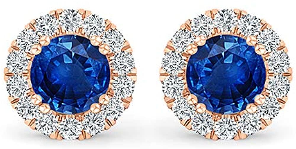 Inspereza Round Gemstone and White Diamond Halo Stud Earring in 14kt Gold (5.00 mm Gemstone)