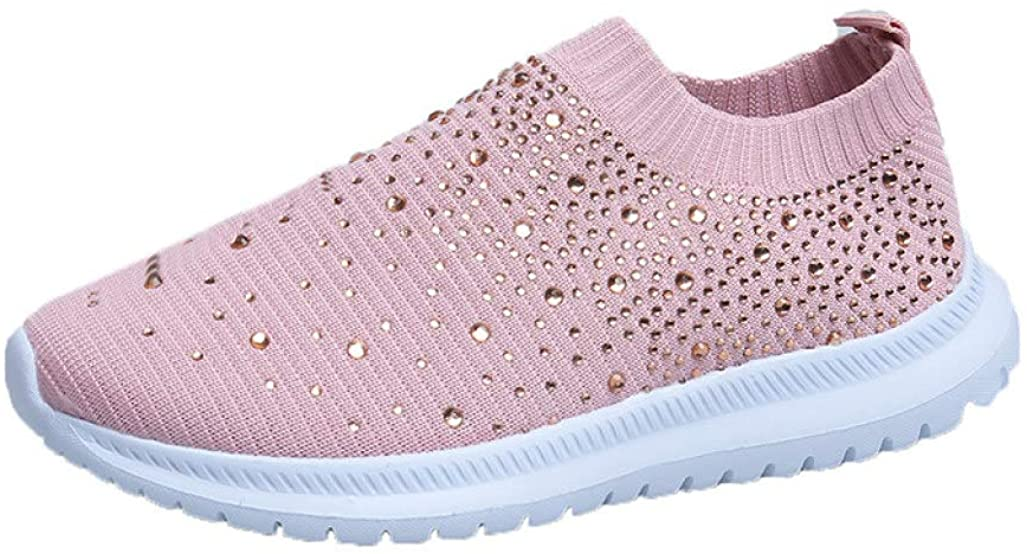 Womens Sparkle Rhinestone Slip On Loafers Breathable Knitted Anti-Slip Sneakers Casual Sports Running Shoes