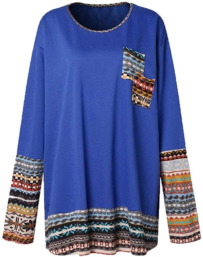 Long Sleeve Tunic Tops for Women to Wear with Leggings Vintage Crewneck Loose Blouse Shirts Plus Size.M-5XL