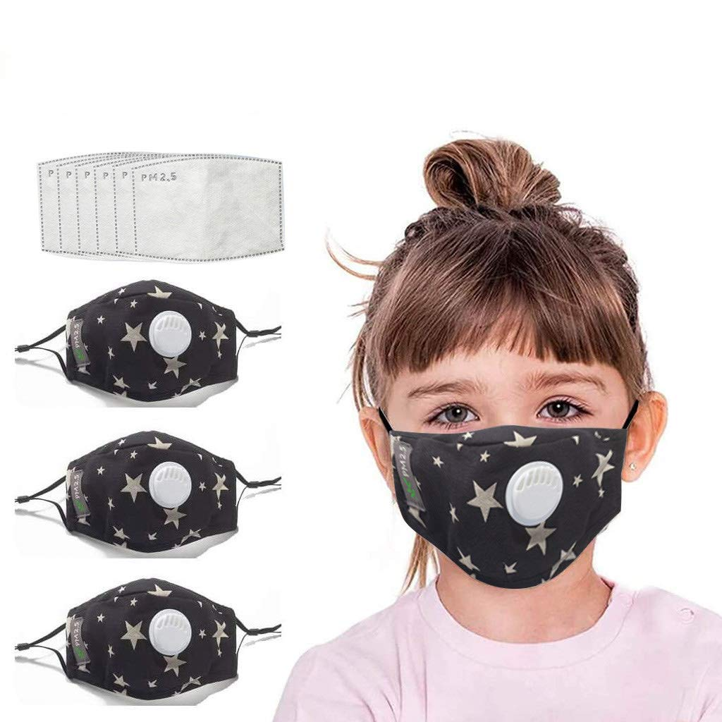 Kids Cotton Face Bandanas Reusable with Filter Pocket, Breathing Protective Adjustable for Children, Replaceable Filters, Outdoor Activities (3pcs+6pcs Black)