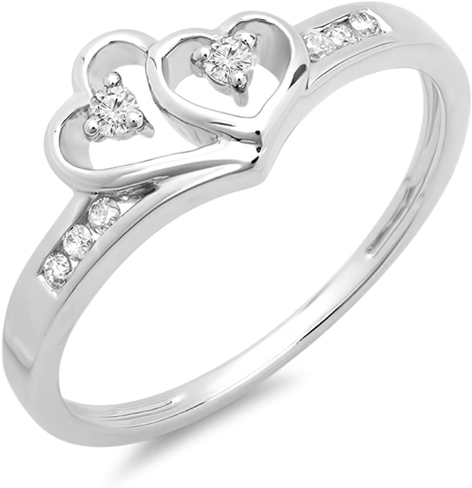 Dazzlingrock Collection 0.12 Carat (ctw) 10k Round Diamond Ladies Bridal Promise Double Heart Engagement Ring, White Gold