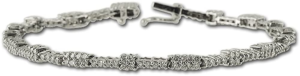 TriJewels AGS Certified Diamond (I1-I2, G-H) Tennis Bracelet 2.00 ctw 14K White Gold