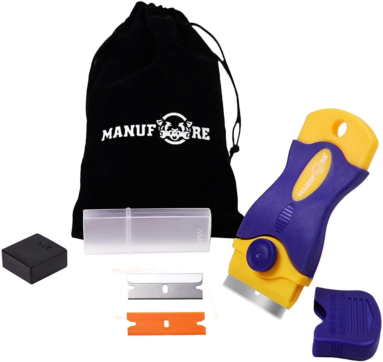 MANUFORE Portable Multi-Purpose Razor Blade Scraper for Cleaning Glass, Stove-top, Window, Floor(1 Scraper, 6 Plastic Blades, 6 Carbon Steel Blades)