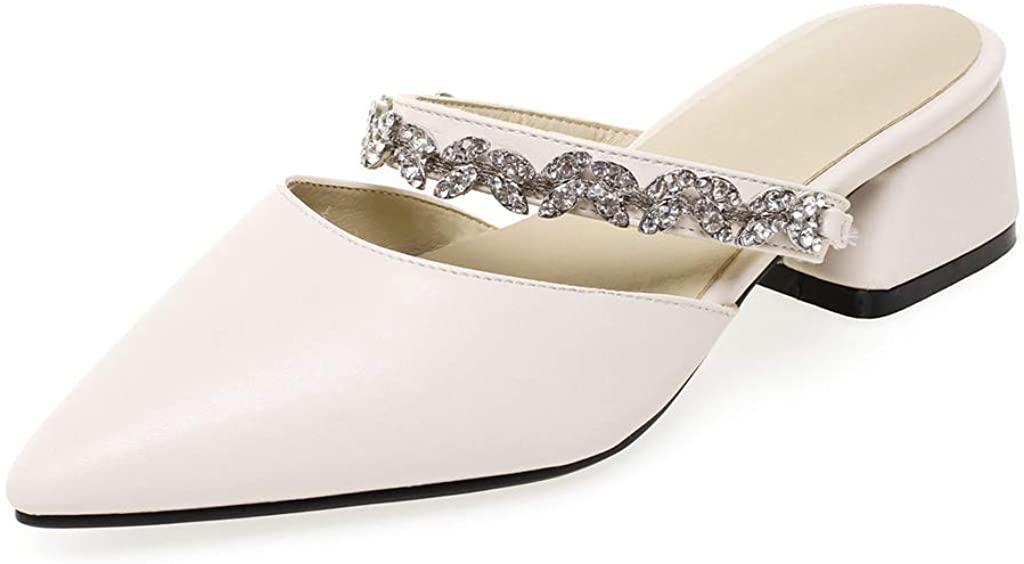 MIOKE Women's Pointed Toe Backless Mules Rhiniestone Slip On Loafer Comfy Block Low Heel Slide Mule Shoes