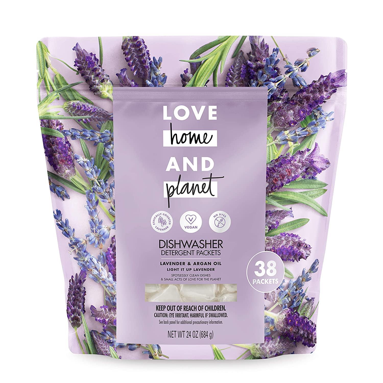 Love Home and Planet Dishwasher Detergent, Lavender & Argan Oil, 38 count