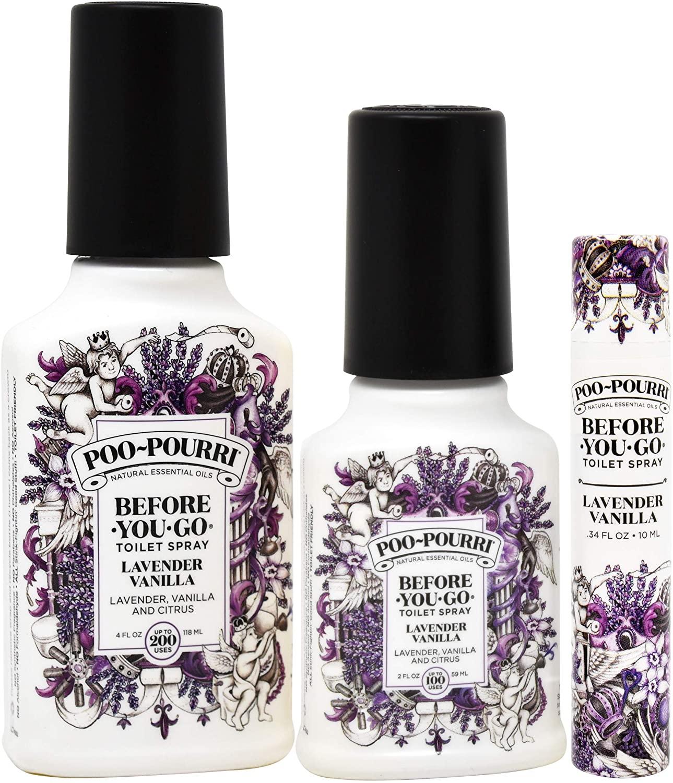 Poo-Pourri Lavender Vanilla 2 Ounce, 4 Ounce, Travel Size Spritzer, and Box
