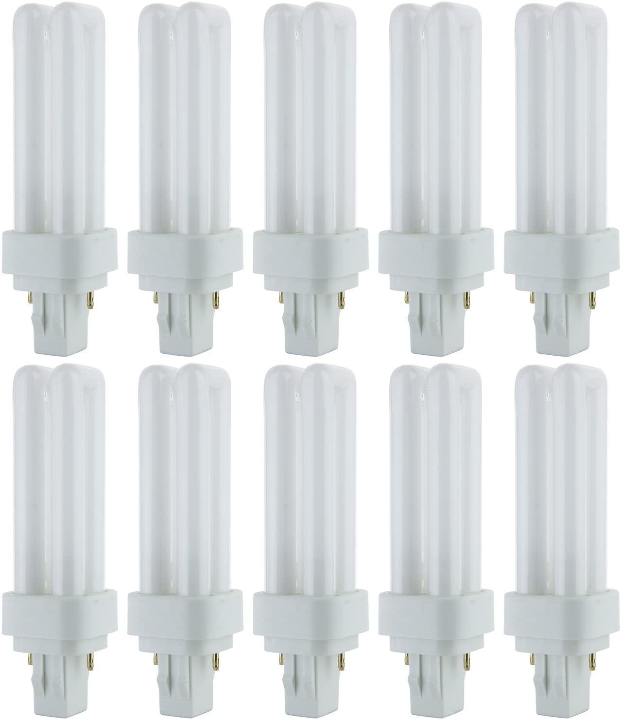 Sunlite PLD13/SP35K/10PK 3500K Neutral White Fluorescent 13W PLD Double U-Shaped Twin Tube CFL Bulbs with 2-Pin GX23-2 Base (10 Pack)