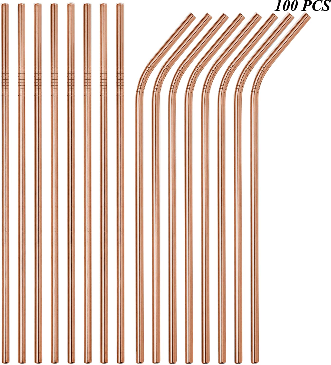 Reusable Metal Straws 100 Pieces,8.5''10.5'' Stainless Steel Rose Gold Straws for 20oz 30oz Tumbler Yeti,6mm Diameter Drinking Straws Bulk For Wholesale(50 Straight+50 Bent) (100pcs Rose Gold-10.5