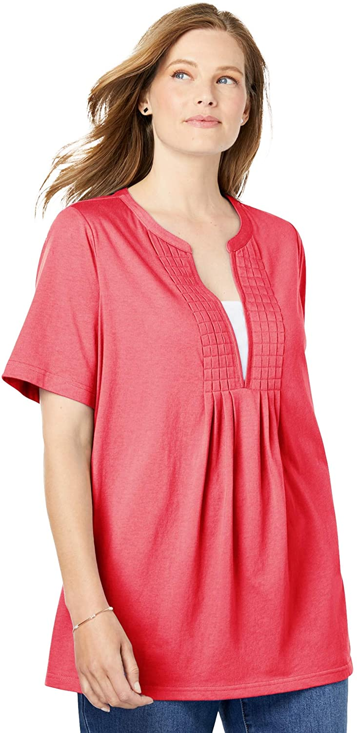 Woman Within Women's Plus Size Layer-Look Elbow-Sleeve Tee Shirt