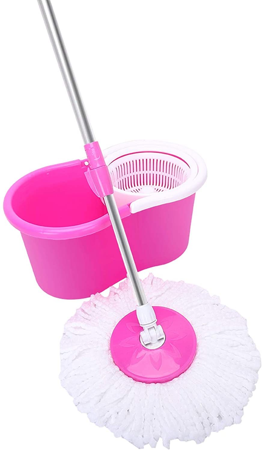 360° Spin Mop with Bucket & Dual Mop Heads Pink - Easywring Spin Mop & Bucket Floor Cleaning System