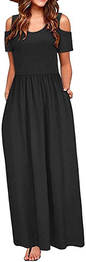 Maxi Dresses for Women,Women's Summer Cold Shoulder Solid Print Party Elegant Maxi Long Dress with Pocket
