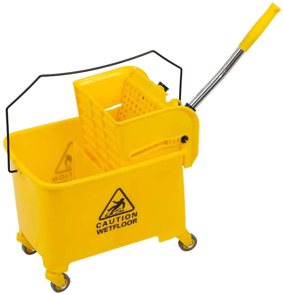 Buybyebye5.28 Gallon Home Cleaning Cart Mop Bucket Removable Down with Side Press Wringer Commercial Home (Yellow)