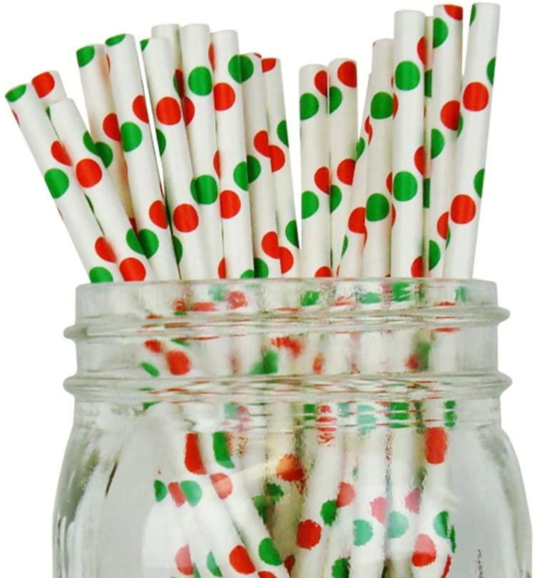 Just Artifacts Decorative Polka Dot Paper Straws (100pcs, Polka Dot, White w/Red & Green Dots)