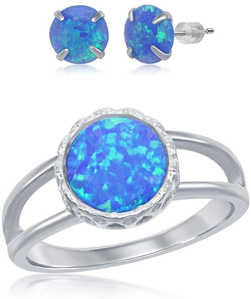 925 Sterling Silver Rhodium Plated 10mm Round White/Blue Created Opal Open Band Ring Including 6mm Round Blue Created Opal Stud Earrings Jewelry Set