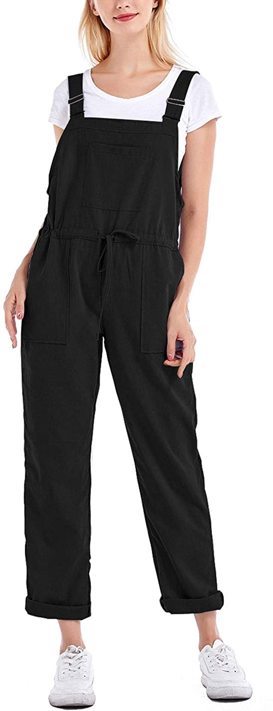 Tanming Women's Casual Cotton Linen Adjustable Strap Drawstring Overalls Jumpsuits (Black, X-Large)