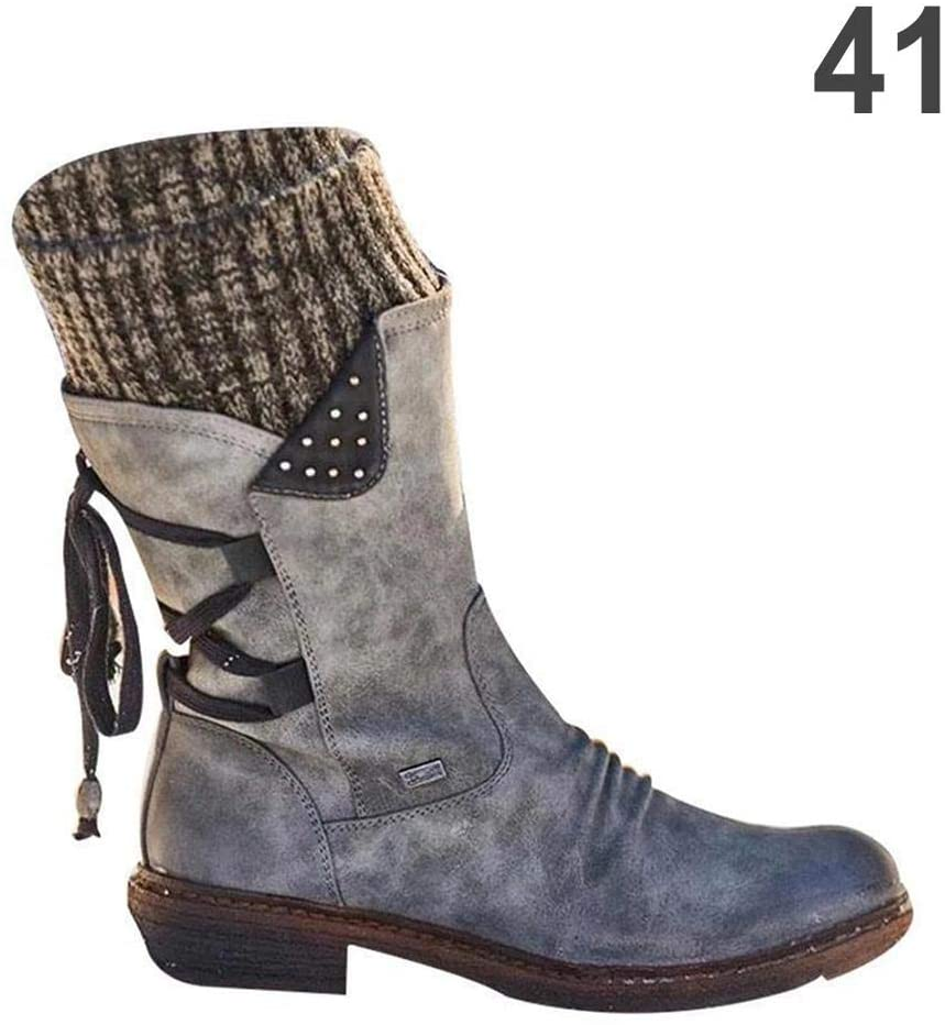 2020 Newest Winter Warm Back Lace Up Boots for Women,Premium Full Fur Lining Windproof Ladies Boots,Mid Calf Waterproof Durable Snow Boot for Outdoor Winter