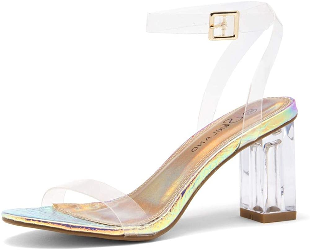 Shoe Land CLLAARY-L Perpex Heel Ankle Strap Adjustable Buckle Lucite Clear Block Chunky High Heel Open Toe Sandal