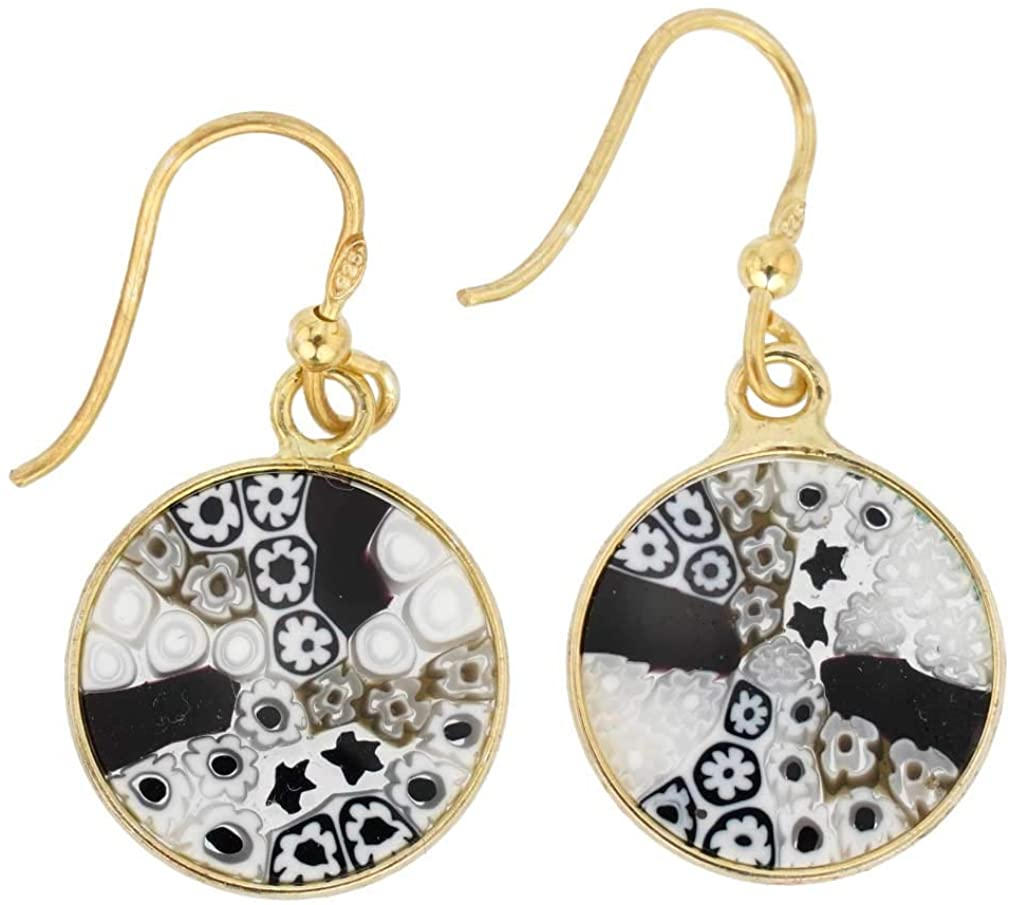 GlassOfVenice Murano Glass Millefiori Round Dangle Earrings - Gold