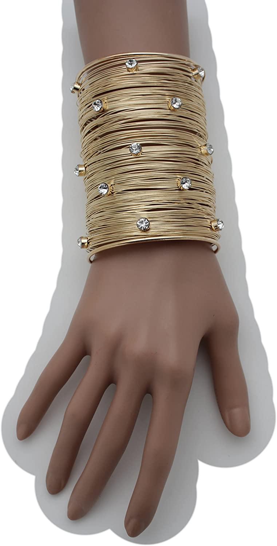 TFJ Women Fashion Jewelry Metal Wrist Cuff Bracelet Long Strings Stripse Fancy Bling Rhinestones Gold