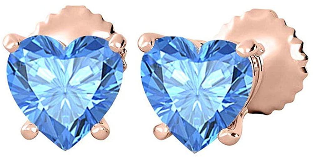 Lovely Heart Shaped (10MM) Gemstones Solitaire Stud Earrings 14K Rose Gold Over .925 Sterling Silver Over For Women's