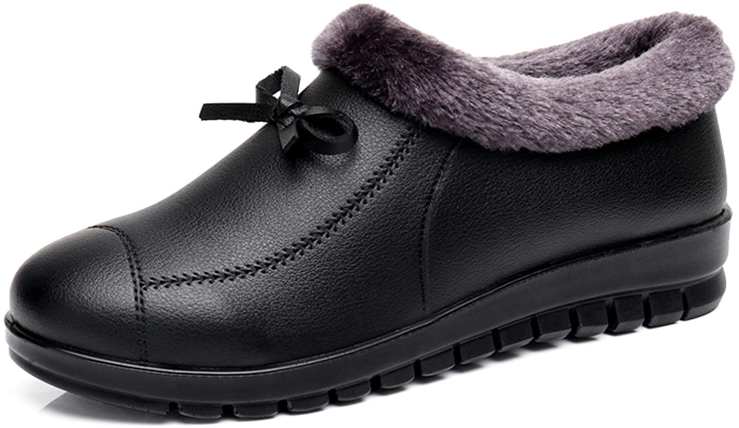 Womens Slip On Winter Keep Warm Ankle Booties Flat Heel Non Slip Comfort Daily Walking Shoes Booties for Mother Grandma
