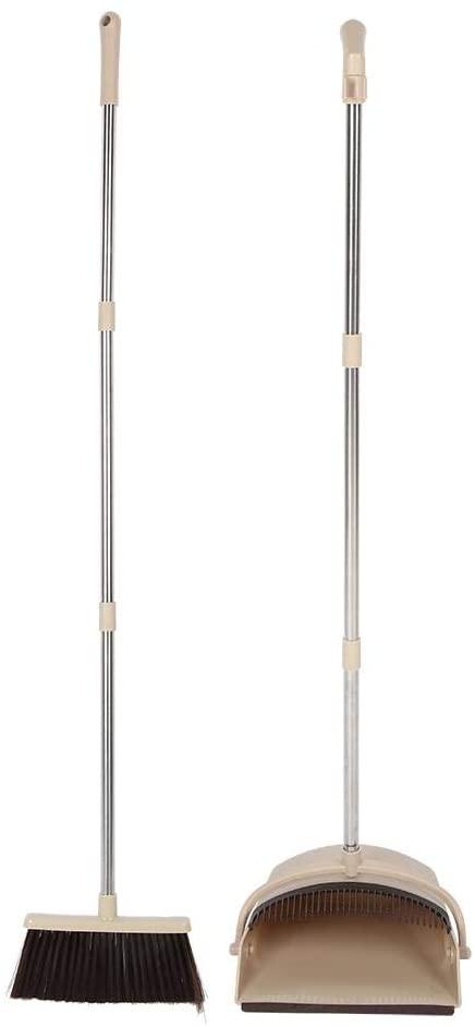 Dustpan Set - VIFER Stand-up Folding Dustpan Broom Set Home Cleaning Sweeping Tool Beige/White Green/White Black 1PC (Beige)