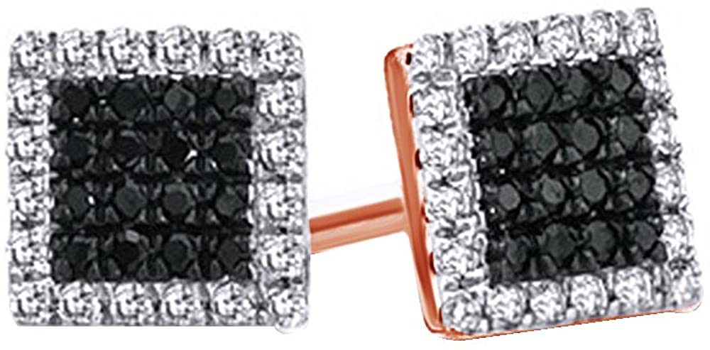 10k Solid Gold Black & White Natural Diamond Square Frame Stud Earrings (1/7 Cttw, I2-I3 Clarity)