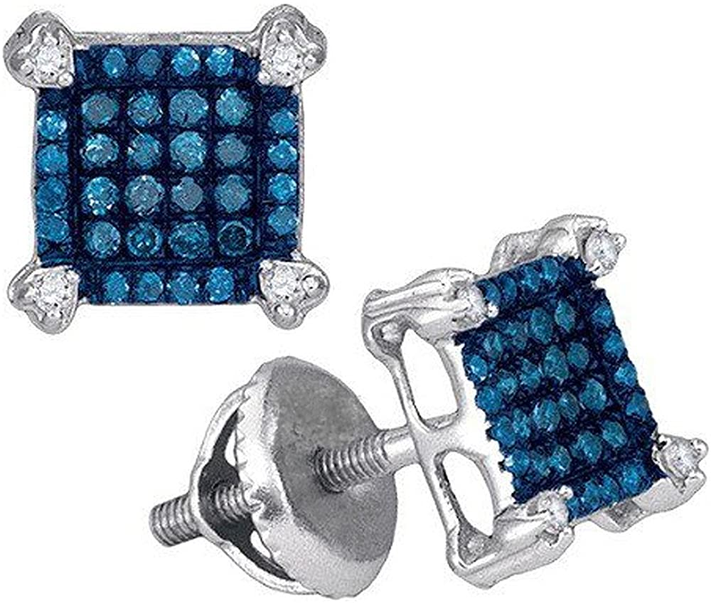 Dazzlingrock Collection 0.25 Carat (ctw) 10K White & Blue Diamond Ladies Square Shaped Micro Pave Stud Earrings 1/4 CT, White Gold