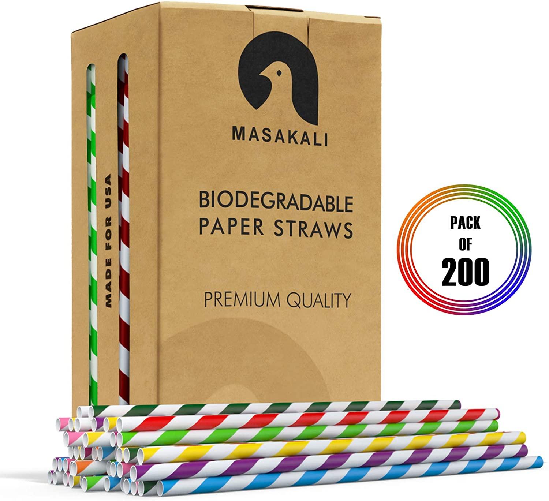 Biodegradable Paper Straws - 10 Unique Colors Rainbow Stripe Paper Drinking Straws - Paper Straws Bulk for Cocktail, Juices, Soda
