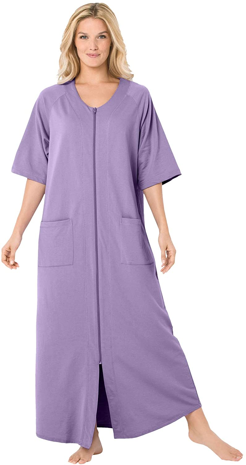 Dreams & Co. Women's Plus Size Long French Terry Zip-Front Robe - 3X, Soft Iris