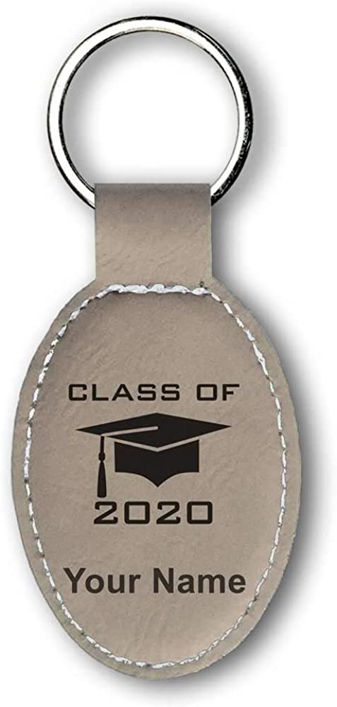 Faux Leather Oval Keychain, Grad Cap Class of 2020, 2021, 2022, 2023, Personalized Engraving Included