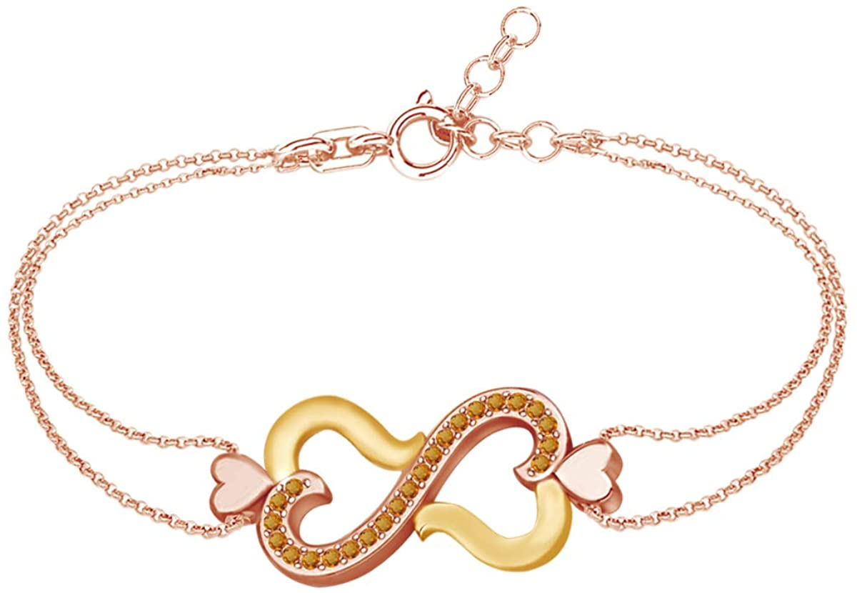 AFFY Simulated Gemstones Two Tone Infinity Heart Link Chain Bracelets 14k Rose Gold Over Sterling Silver