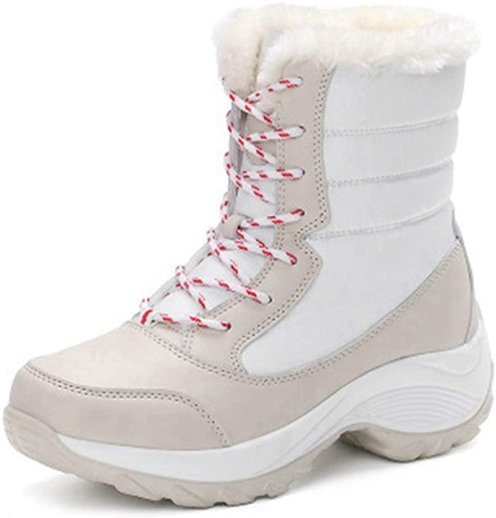 MIOKE Women's Winter Waterproof Snow Ankle Boots Lace Up Warm Fur Platform Insulated Outdoor Sneaker Booties