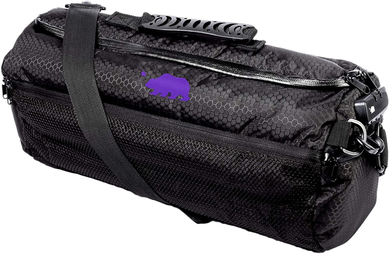 Cali Crusher 100% Smell Proof Duffle Bag w/Combo Lock (Black/Purple, 16