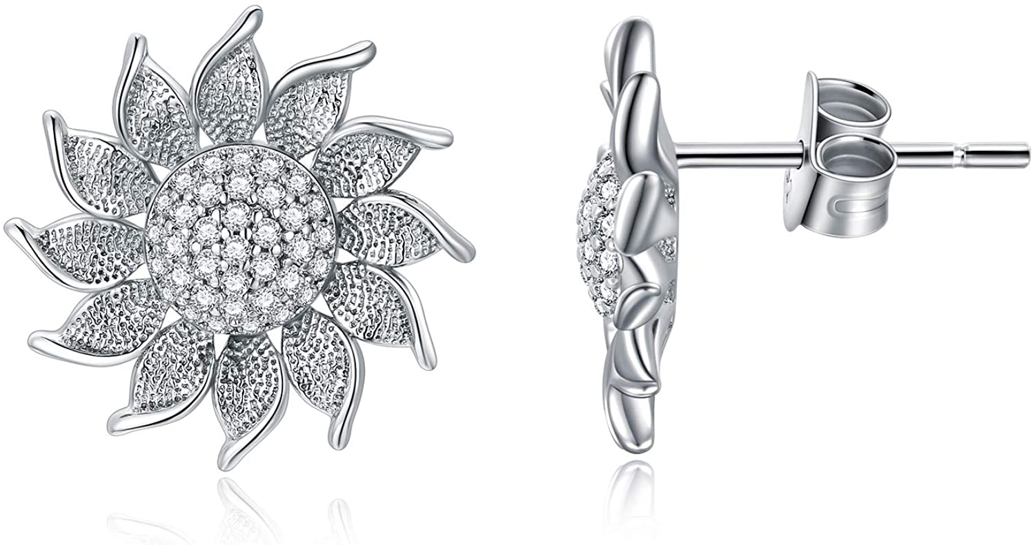 925 Sterling Silver Sunflower Stud Earrings You are My Sunshine Flower Jewelry Gifts for Women Mom