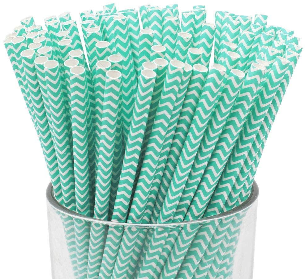 Just Artifacts 100pcs Premium Biodegradable Chevron Striped Paper Straws (Chevron Striped, Turquoise)