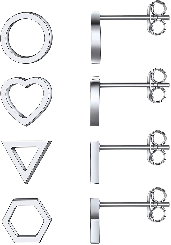 FOCALOOK Stud Earrings Set 4 Pairs Stainless Steel Minimal Geometric Hollow Traingle Heart Circle Hexagon Shape Studs for Women